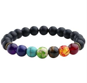 La oración chakra de la pulsera de los hombres Negro lava curación Reiki balance Cuentas de Buda de piedra natural Yoga pulsera para las mujeres envío gratis