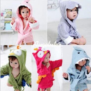 Baby-Pyjamas Cute Animals Kid Bademantel Flanell Kinder warme Pyjamas Lange Cartoon Badetuch mit Kapuze Pyjama Shark Kaninchen Pyjamas WY37Q