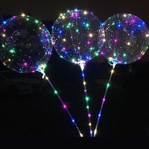 BOBO Balon LED Yanıp Sönen Ile 70 cm Kutuplu 3 M Dize Balon Şeffaf Işık Aydınlatma Yukarı Doğum Günü Düğün Ev Partisi Dekor Için Balonlar