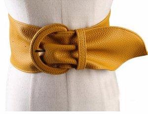 Moda mulheres cintos largos de couro para vestidos de blusa Buckle Ladies Ocidental Trending Design Preto Vermelho Amarelo Camel Longo