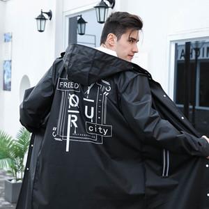Yuding Balck Mode Long Hommes Raincoat Unisexe Adulte Imperméable Étanche Poncho Tour En Plastique Manteau De Pluie avec Lettre Impression Cordon
