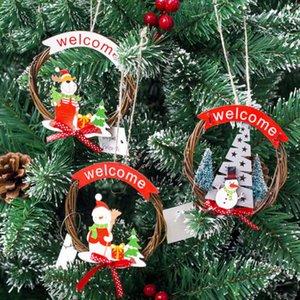 1pcs Père Noël Porte Pendentif en rotin Suspendre Sapin de Noël Toppers Décoration d'intérieur Décorations de Noël Cadeaux