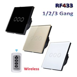EU UK Standard 1 2 3 Gang RF433 Remote Control Wall Switch, Wireless Smart Light Switches, Glass Panel Touch Switch AC 110V-220V