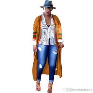 Сыпучий Red Green Stripe Длинных женщины Верхней одежда Ribbon Плюс Размер Весна дама дизайнер Кардиган пальто Женская Одежда