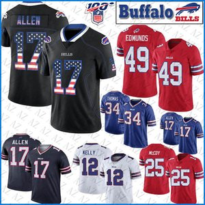 17 Josh Allen Buffalo Football Jersey Bill 49 Tremaine Edmunds 12 Jim Kelly 25 LeSean McCoy 34 Thurman Thomas EUA jerseys Bandeira costurado