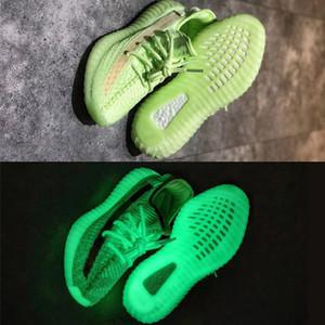 Yeni GID Glow Kanye West Statik Refective Boots Sneakers Tasarımcı Ayakkabı Dalga Koşu Ayakkabıları Tereyağı Zebra Oreos Erkek Kadın Eğitmenler SZ ABD 5-13