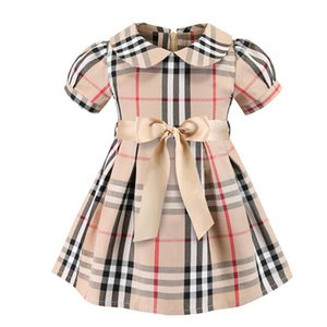 Summer Girl Plaid Dress Short Sleeved Cotton Skin Friendly Breathable Princess Dress British Style Male Child Dress Cute Sweet Girl Dresses