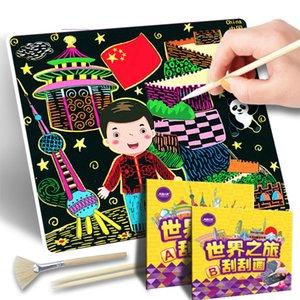 Creative DIY planche à dessin coloré gratter papier école maternelle grattage doodle peinture jeu manuel d'apprentissage des jouets éducatifs