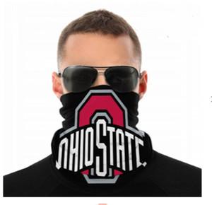 Máscaras NCAA Ohio State Buckeyes sin fisuras cuello polaina Escudo de la bufanda del pañuelo facial Protección UV para la motocicleta Ciclismo Montar Ejecución de las vendas