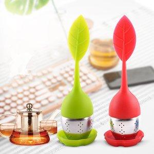 Silikon Çay demlik Yapraklar Şekli Silikon çay fincanı Çay Torba Filtre Paslanmaz Çelik Süzgeçler Tea Leaf Yayıcı DHB6 olun