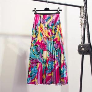 2019 Nouvelle-printemps prochain Eurpoean High Street Style A-ligne Motif floral mi-mollet vacances jupe haute qualité Jupes femmes