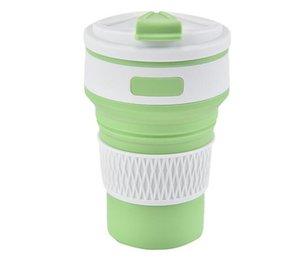 perakende paketin Outdoor Ölçeklenebilir Kahve Fincanı içinde Kapak Kapaklı 2020 Yumuşak Silikon Su Kupa Tumblers Portatif Katlanır Su Şişesi 350ml
