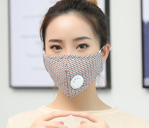 Máscaras de la moda unisex algodón de la cara de la válvula con la respiración boca PM2.5 máscara de la máscara de tela anti-polvo reutilizable con 1 filtros dentro de 2020