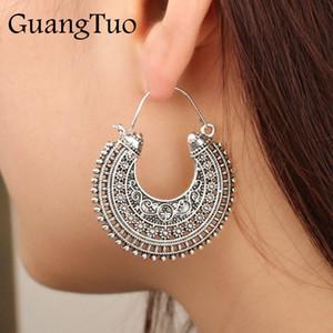 EK401 alte tibetanische Filigran-Blume Verziert Ohrring Schnitzen Hohle Gypsy Tribal Herz-Ohrringe für Frauen