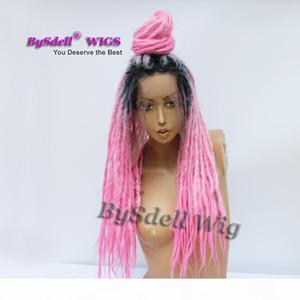 Feitas à mão-de-rosa Ombre Jamaica Dreadlock peruca sintética Afro Braid Dreadlocks Preto Cabelo Dread Braid rendas frente perucas para a mulher preta