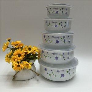 mixing bowls with seal cover Enamel suit set 5pcs preservation set Freshness mini rice bowl 10-18cm