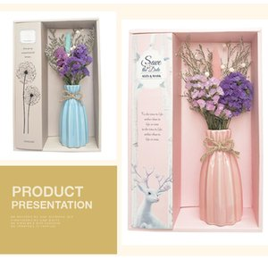 Dry Flower With Vase Air Fresher Essential Oil Flameless Aromatherapy Diffusers Air Freshener Set Bathroom Hotel Home Decor