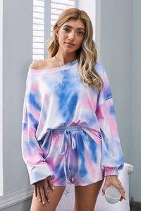 Kadınlar pijama Korte için DHL Bedava Pijama tiedye FApzp bwkf Yeşil Glow güzel Met Ronde Hals En Giysi S İyi Batik Gömlek ayarlar