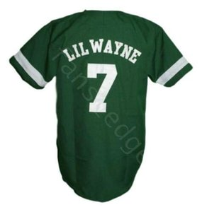 Lil Wayne 7 Hardball Movie Baseball Jersey Button Down Green Mens Stitched Jerseys Shirts Size S-XXXL Free Shipping