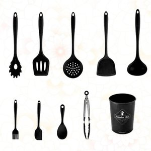 1 Set 9pcs Silicone Cookware Kitchenware Convenient Cooking Supplies Kitchen Utensil for Home Restaurant with Storage Bucket