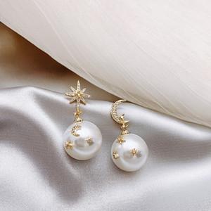 HF JEL-Perlen-Ohrringe für Frauen-Gold Mond-Stern Asymmetry 925 Sterlingsilber-Pin-Bolzen-Ohrringe Aretes De Mujer 2019