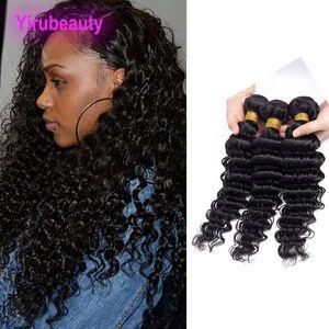 Indian Virgin Hair Extensions 3 Bundles 100% remy cheveux Double Trames vague profonde Curly 8-30inch Tissages