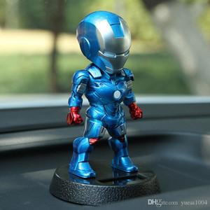 Marvel Мстители 5-дюймовый Железный Человек солнечной энергии релаксации Bobble-Head Action Игрушка для автомобилей Главная Office.Shake голова игрушки 12см