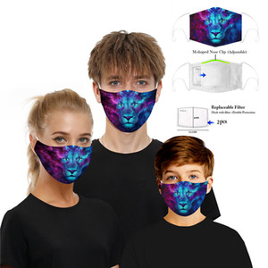DHL visage masque chat loup en plein air masques parti impression Spot PM2. 5 coton bouche visage masque amovible filtre animal masque + 2 pcs Filtre