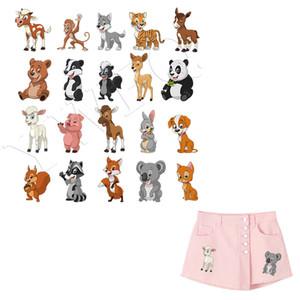 20pcs / lot 3D animal de DIY Parches ropa lavable pegatinas de Transferencia de Calor Parches Impr.Simple por hogar Irons Panda Gato Fox
