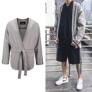 Mens Designer Denim Belted Kimono haute Streetwear Hip Hop Mode Denim Casual Heavy Cotton Jackets Manteaux oversize silhouettes