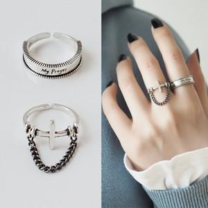 Afluxo Dedo S925 Sterling Silver Ring Ring Womens de japonês e coreano-estilo simples Cadeia Acessórios Anel Cruz