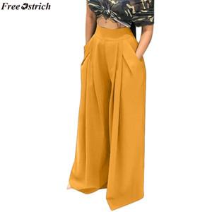 OSTRICH GRATUITO Mujeres Pantalones Sueltos Ocasionales Pantalones de Cintura Ancha de Cintura Alta Pantalones Largos Plisados Largos Culottes Cintura Elástica Bolsillos para Pantalones