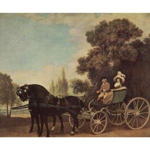 Schöne Ölgemälde Landschaften Lord und Lady In A Phaeton George Stubbs Hand bemalte Leinwand Kunstwerk für Esszimmer