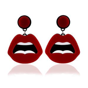 Hip Hop divertidos labios de Europa y América pendientes exageradas creativa linda de acrílico del regalo del partido del club nocturno