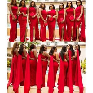 2019 arabo economici sirena rossa sirena abiti da sposa una spalla lato Split Plus Size abito da sposa lungo ospite abiti da damigella d'onore africana