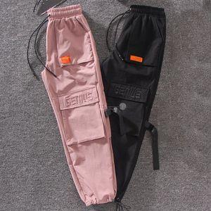 Outono Streetwear bordado Senhoras Calças de Carga Das Mulheres Harajuku BF Solto Grande Bolso Hearm Calças de Cintura Alta Soltas Calças Femininas SH190913