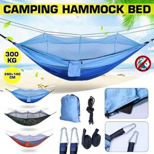 260 * 140 cm Außenmoskitonetz tragbare Reise Hängematte bequem Hommock Camping Hammack Camping Bed Unterstützung 300kg