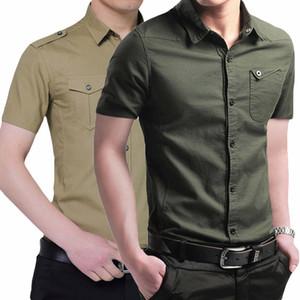 Hombres camiseta de manga corta de 2020 nuevos de la llegada de moda masculina de algodón delgado apto de las camisas casual de negocios Epaulette bolsillo