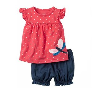 Baby Girl Clothes Set Cotton Dragonfly T-Shirt Short Pants Summer Tank Top Newborn T Tee Shirts Clothing Suit Outfits Polka Dot