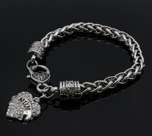 Ser joyas pulseras Luna bricolaje Brancelets Segura brazaletes colgante de la insignia de los hombres pulsera del encanto del corazón de la Policía hija Mama pulsera elegante hermana esposa