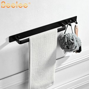 wholesale Self Adhesive Hand Towel Holder Hanger Rail with Hook Organizer Rack Bar Bathroom Accessories Towel Bar without Drilling