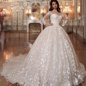 Luxe 2020 Brillant perles de cristal dentelle Une ligne Robes de mariée Robe de mariée Princesse De manches longues Robes de mariée Puffy robe de mariée Jupe