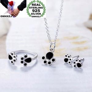 OMHXZJ personalità all'ingrosso dei monili dell'artiglio del gatto della donna di colore di modo 925 Orecchini Sterling Silver + + Necklace Ring Set SE17