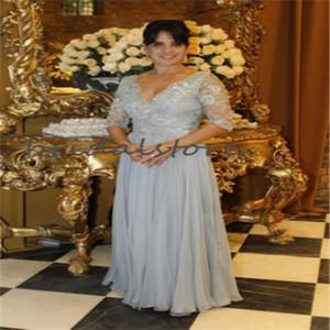 Elegante Mutter der Braut-Kleider mit Ärmeln Sexy V-Ausschnitt bodenlangen Chiffon Mutter des Bräutigams Kleid Plus Size Mom formale Kleider