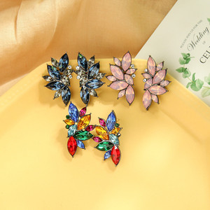 E041481 Super Fairy Cool Diamond Set Earrings S925 Silver Pin Colorful Gemstone Earrings Dinner All-match Flower Earrings