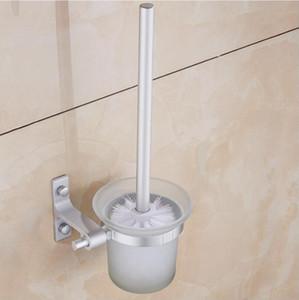 WC titular de cepillo de aluminio creativo desmontable Wall Mounted Holder Escobillero baño moderno hardware sistemas de la taza de cristal