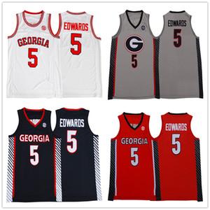 5 Anthony Edwards Branco Jersey Georgia Bulldogs Basketball Jerseys Colégio Red Grey Black costurado dos logotipos da marca dos homens de NCAA