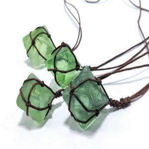 Natural Handmade Blue-Green Gemstone Pendant Green Fluorite Octahedral Rough Wrap Braid Necklace Stone Crafts