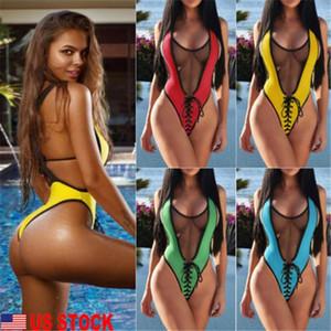 2019 verano de una pieza del traje de baño atractivo de las mujeres V profundo Blue Collar Rojo Sólido Amarillo Verde Monokini traje de baño atractivo de la playa del bañador