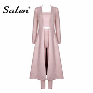 Salen 2017 New Women's Spring Grey Sexy Creatless Celebrity Crop Top Pant Suits Fashion Long Coat 3 Pieces Set